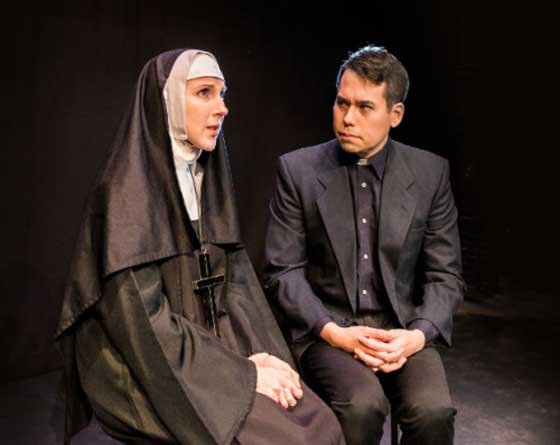 "Meigg Jupin as Sister James and Ben Katagiri as Father Flynn in ""DOUBT, A Parable"" at Schenectady Civic Players."