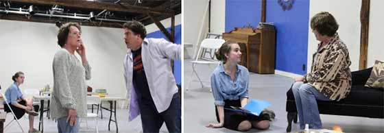 "(left) Grace Sgambettera, Christine Decker, and David Snider in rehearsal for ""The Glass Menagerie"" at Hubbard Hall and (right) Grace Sgambettera as Laura and Christine Decker as Amanda rehearse a scene."