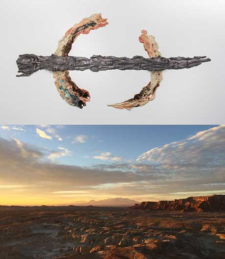 (top) Brie Ruais, Non Zero Sum Game and (bottom) Letha Wilson, Goblin Valley State Park, Utah, December 2016 @ September Gallery