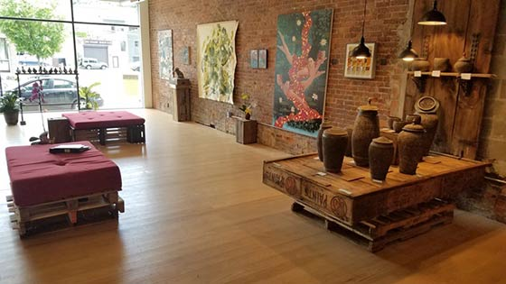 An interior view of Scarlet Seven Fine Art Gallery