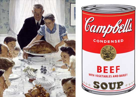 (left) Norman Rockwell: Freedom from Want and Andy Warhol: Campbell's Soup Can @ The Norman Rockwell Museum