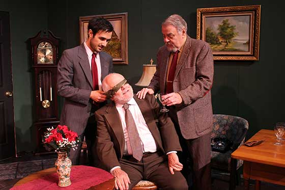 "`Gianmarco Colucci as Jeremy Warrender, John Trainor and Phil Rice in Agatha Christie's ""Spider's Web.""  (photo: Jade Campbell)"