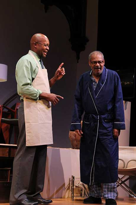 "Leon Addison Brown (Calvin) and Roger Robinson (Donald) in James Anthony Tyler's ""Some Old Black Man,"" directed by Joe Cacaci, presented by Berkshire Playwrights Lab at St. James Place."