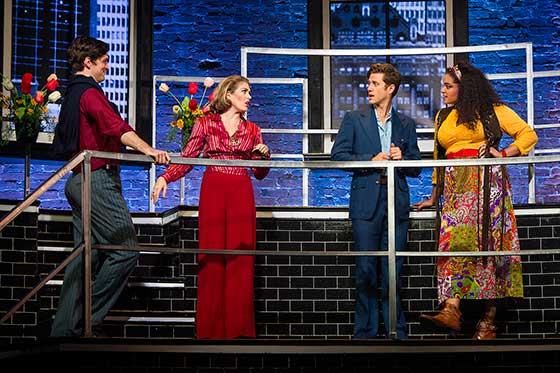 Paul Schaefer as Peter, Kate Loprest as Susan, Aaron Tveit as Bobby & Nora Schell as Marta. Photo Daniel Rader.