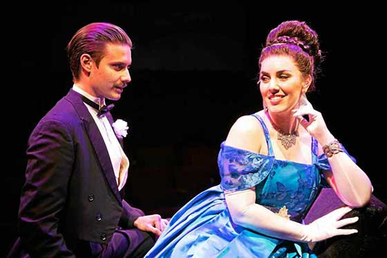Chris Cherin as Nicky Arnstein and Lauren Palmieri as Fanny Brice. Photo by Sarah Kozma.