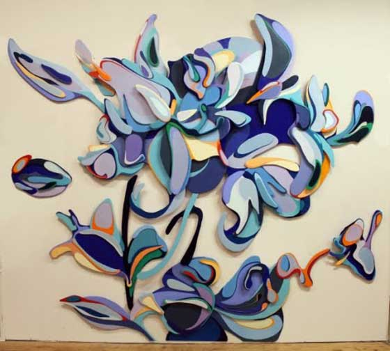 Lilium - oil paint on panel relief (wall-mounted)