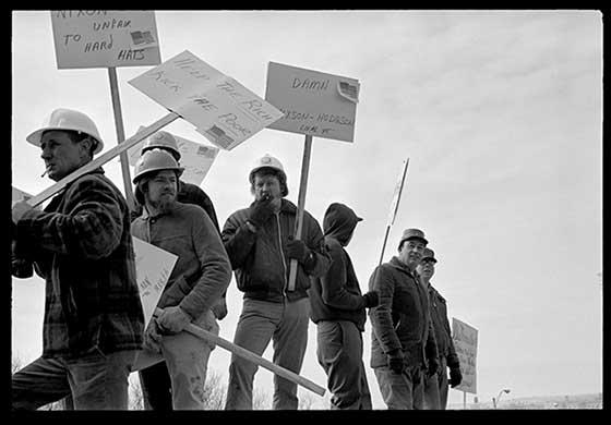 Marjorie Nichols: Hard Hats Picketing anti-Nixon, anti-war, 1970's @ Davis Orton Gallery